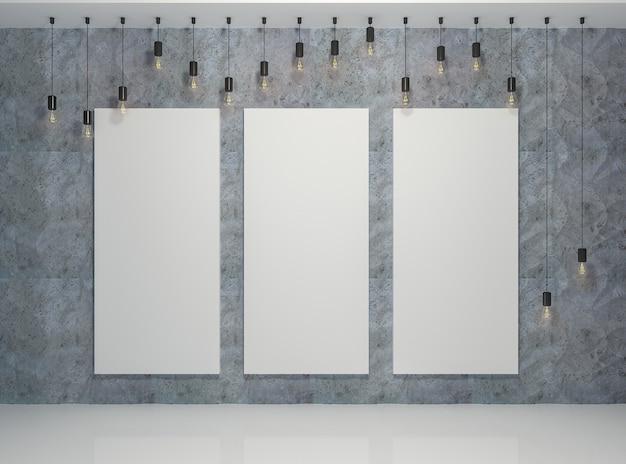 Cartaz na sala com lâmpadas retrô e painéis 3d