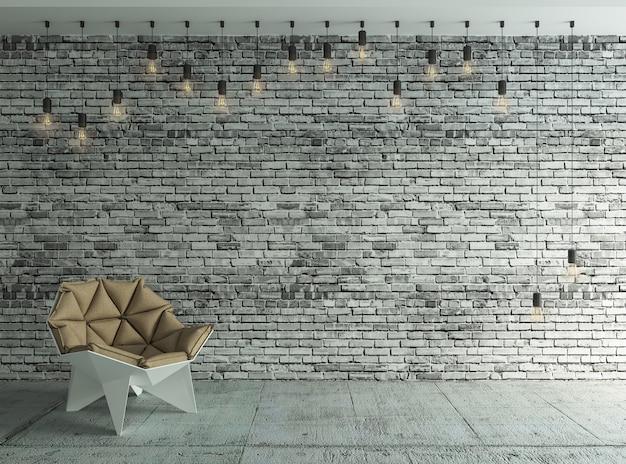 Cartaz na sala em tijolo, com lâmpadas retrô