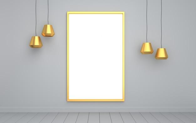 Cartaz no fundo da parede cinza com lâmpada dourada, renderização em 3d, cena da maquete