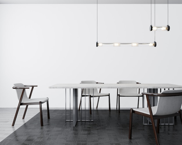Cartaz, parede mock-se no interior da sala de jantar cinza claro, renderização em 3d