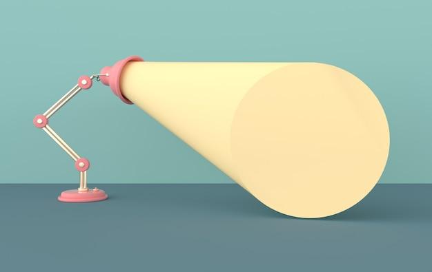 Cartaz publicitário com luz de lâmpada, ilustração de renderização com espaço para texto
