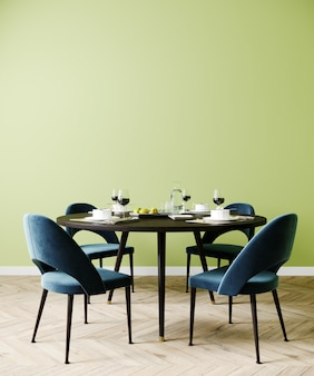 Cartaz trocista na sala de jantar, interior elegante com cadeira azul e parede verde, renderização em 3d