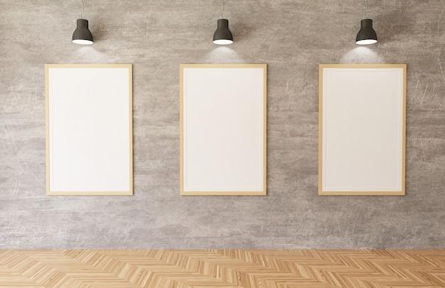 Cartazes brancos e quadros pendurados no fundo da parede de concreto