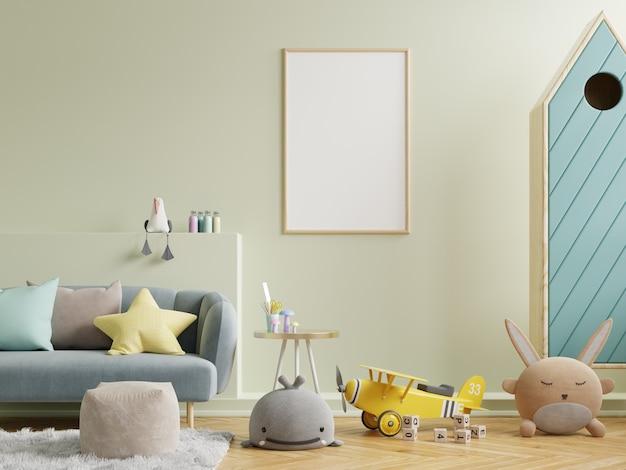 Cartazes de maquete modernos e de design no interior de quartos infantis, renderização em 3d
