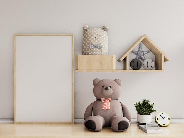 Cartazes no interior do quarto de criança, renderização em 3d