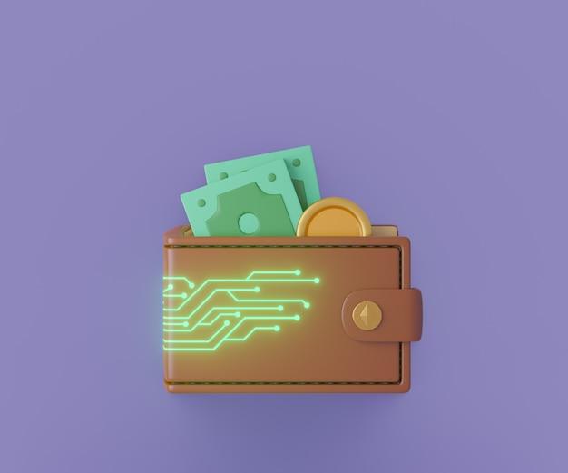 Carteira 3d de couro marrom com placa de circuito de linha digital brilho e dinheiro. renderização de ilustração 3d.