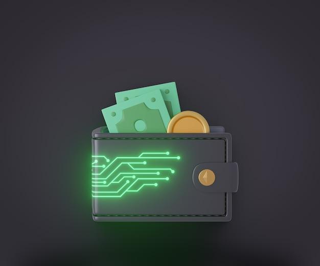 Carteira 3d preta com placa de circuito de linha digital de brilho e dinheiro. renderização de ilustração 3d.