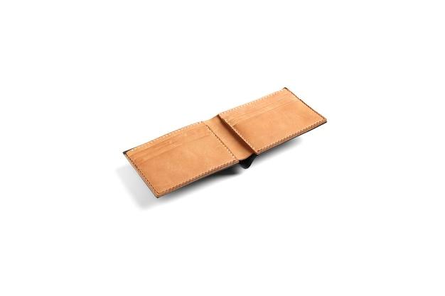 Carteira de couro marrom isolada no fundo branco simulação para a marca