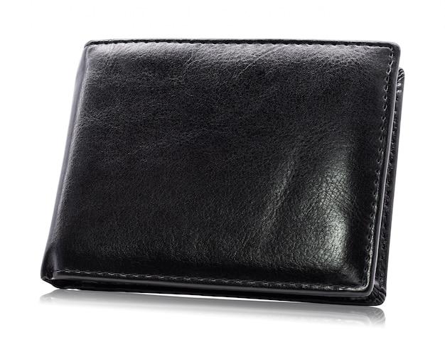 Carteira de couro preta isolada no fundo branco.