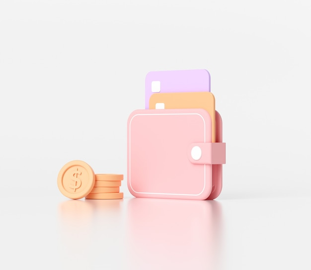 Carteira e moedas mínimas de dinheiro