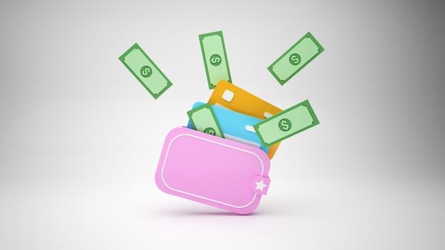 Carteira mínima com cartões de crédito e dinheiro em fundo cinza d ilustração