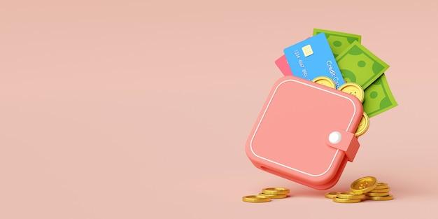 Carteira mínima com nota de cartão de crédito e moeda de dólar