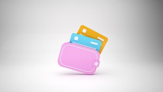 Carteira rosa minimalista com cartões de crédito na ilustração cinza backgorund d