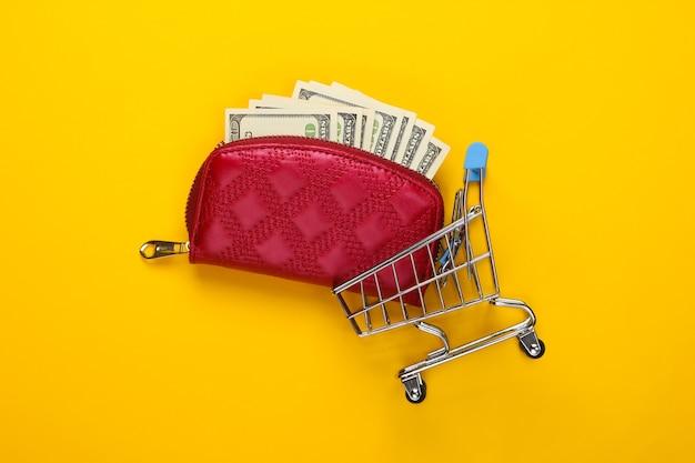 Carteira vermelha com notas de cem dólares e carrinho de compras em um amarelo.