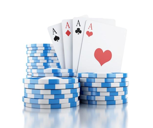 Cartões 3d e chips. conceito de jogo.