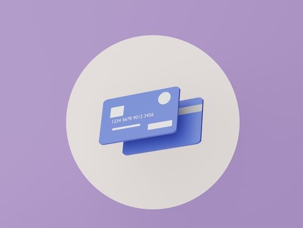Cartões de crédito 3d com conceitos de dinheiro planejamento financeiro franquias de gestão de patrimônio