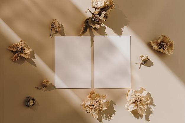 Cartões de folha de papel em branco com botões de flores secos e sombra de luz do sol em bege