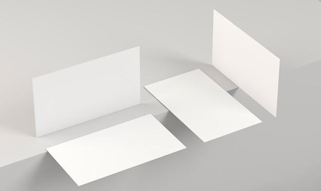 Cartões de visita em branco para cópias corporativas em vários ângulos
