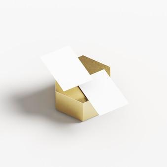 Cartões de visita em forma geométrica dourada