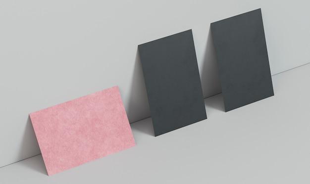 Cartões de visita horizontais rosa e pretos verticais