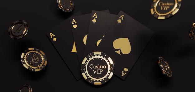 Cartões e fichas douradas de casino de luxo. fichas de pôquer caindo premium photo