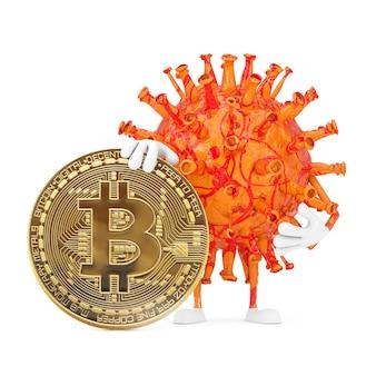 Cartoon coronavirus covid-19 virus mascot person character com digital e criptomoeda golden bitcoin coin em um fundo branco. renderização 3d