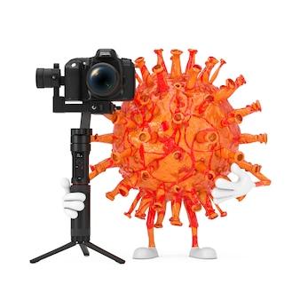 Cartoon coronavirus covid-19 virus mascot person character com dslr ou sistema de tripé de estabilização de cardan da câmera de vídeo em um fundo branco. renderização 3d