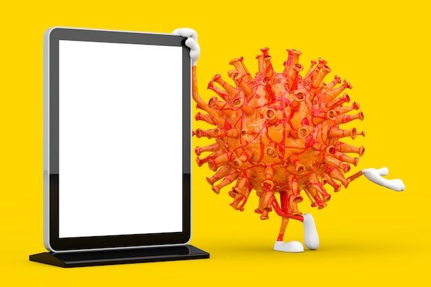 Cartoon coronavirus covid-19 vírus mascote personagem personagem com em branco trade show tela lcd stand como modelo para seu projeto em um fundo amarelo. renderização 3d