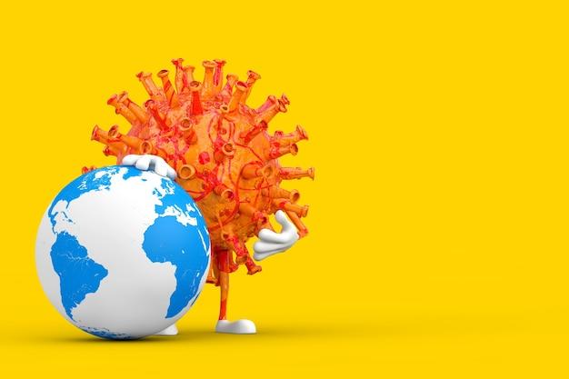 Cartoon coronavirus covid-19 vírus mascote personagem personagem com globo terrestre em um fundo amarelo. renderização 3d