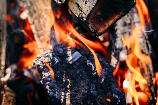 Carvão ardente queima lenha com cinzas e chamas