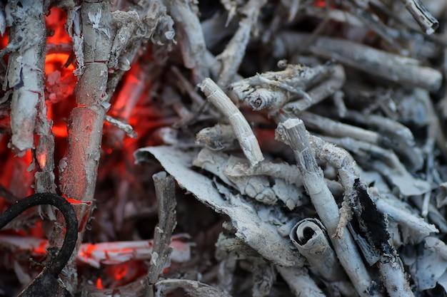 Carvão e cinzas no fogo