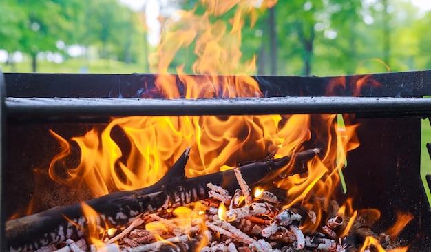 Carvão vegetal queimando na churrasqueira ou no fundo do quadro.
