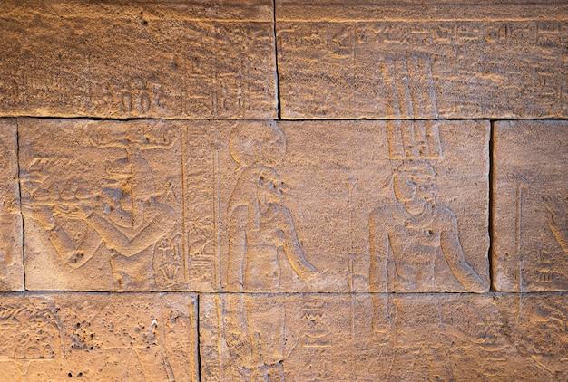 Carvings jeroglíficos reais nas paredes de um templo egípcio antigo.
