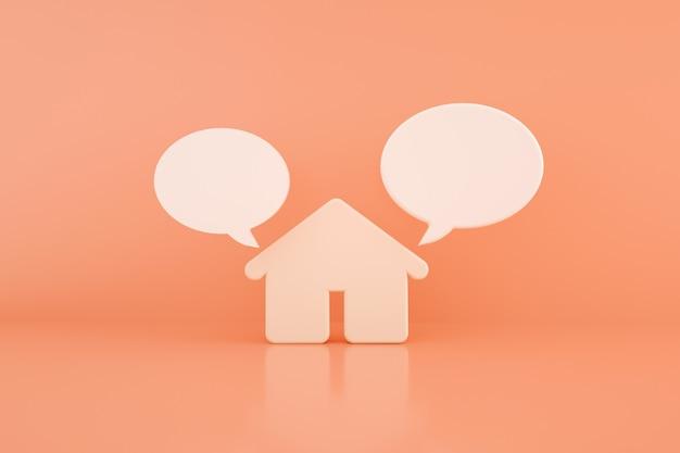 Casa 3d com diálogo sobre fundo rosa, renderização 3d
