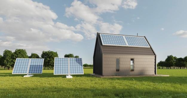 Casa 3d com painéis solares