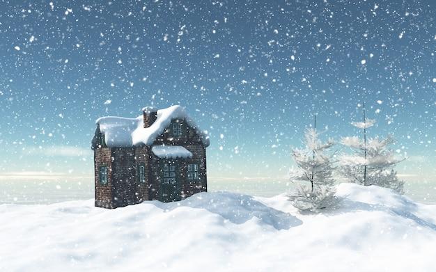 Casa 3d nevado com árvores e casa