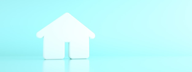 Casa 3d sobre fundo azul, renderização 3d, maquete panorâmica