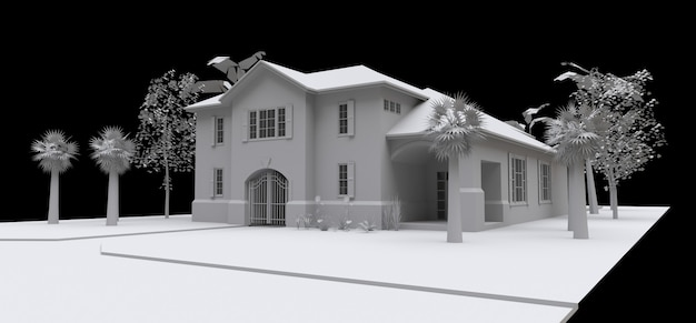 Casa ampla com jardim e piscina. modelo 3d em branco sobre um fundo preto