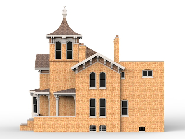 Casa antiga em estilo vitoriano. ilustração em fundo branco. espécies de diferentes lados. renderização 3d.