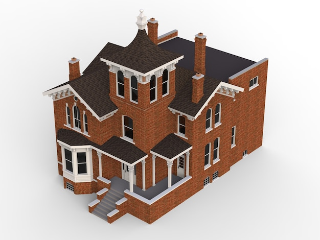 Casa antiga em estilo vitoriano ilustração em fundo branco espécies de diferentes lados