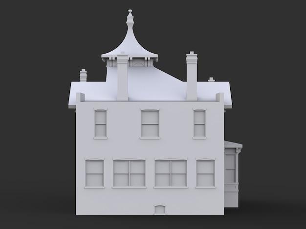 Casa antiga em estilo vitoriano. ilustração em fundo preto. espécies de diferentes lados. renderização 3d.