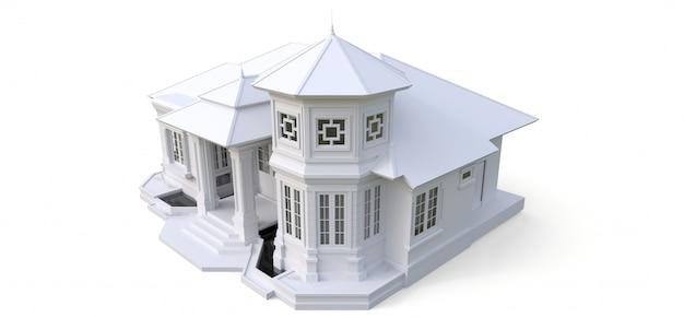 Casa antiga em estilo vitoriano. ilustração na superfície branca. espécies de lados diferentes