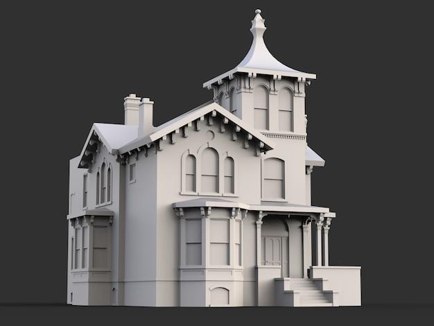 Casa antiga em estilo vitoriano. ilustração na superfície preta. espécies de lados diferentes