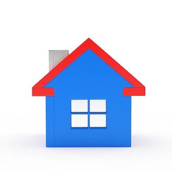 Casa azul em branco isolado