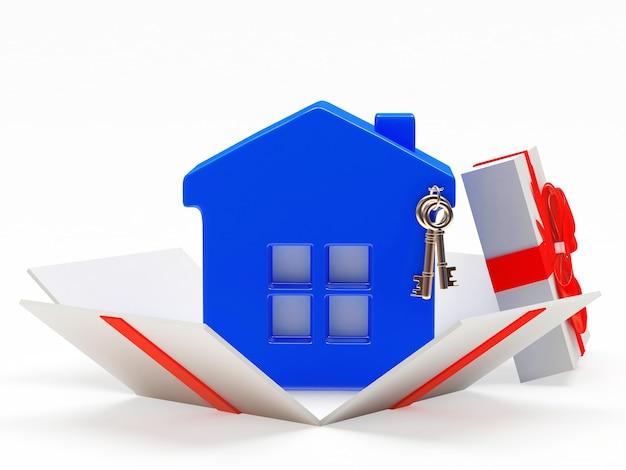 Casa azul em caixa de presente aberta isolada