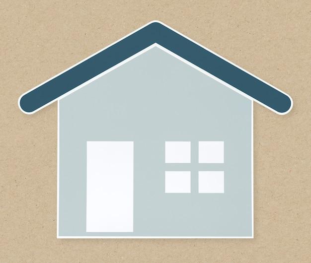 Casa azul, ícone, isolado
