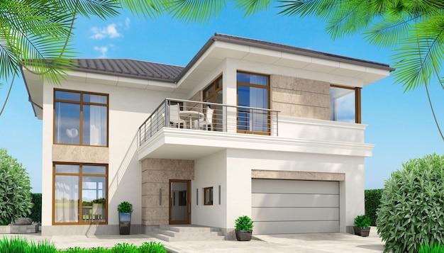 Casa branca moderna com terraço e palmeiras