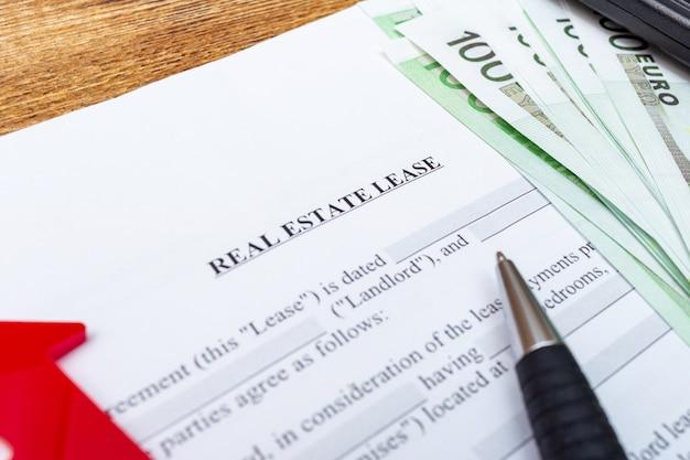Casa, casa, propriedade, arrendamento imobiliário contrato contrato caneta dinheiro