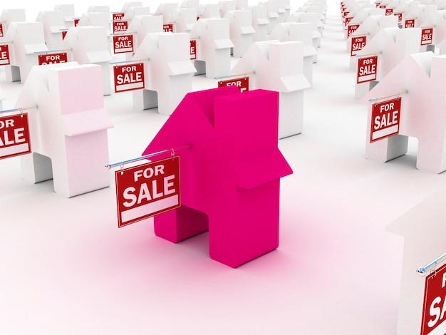 Casa colorida à venda, renderização em 3d