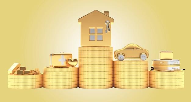 Casa com carro e economia com malas médicas em moedas